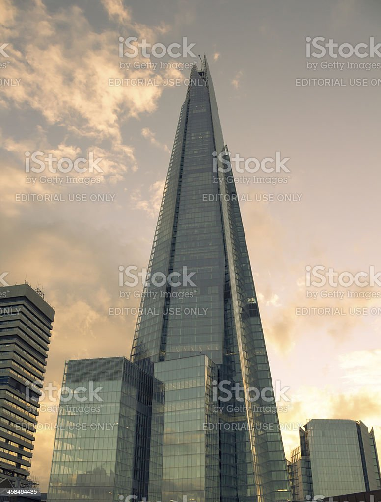 The Shard at dusk with a warm look stock photo
