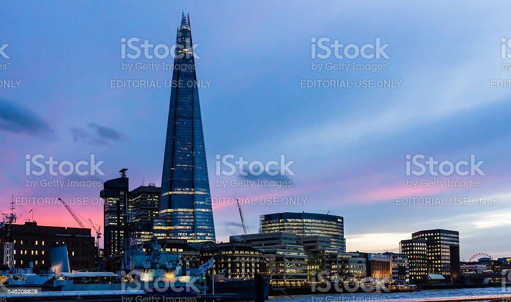 The Shard at Thames river riverside at dusk stock photo