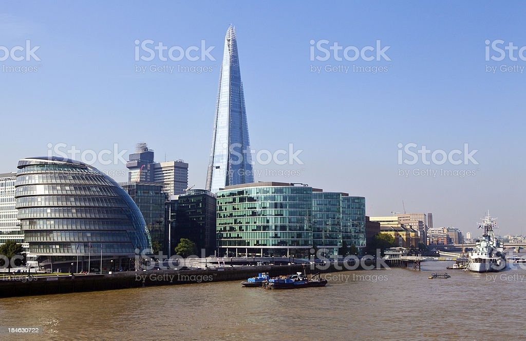 The Shard, City Hall, HMS Belfast and River Thames stock photo