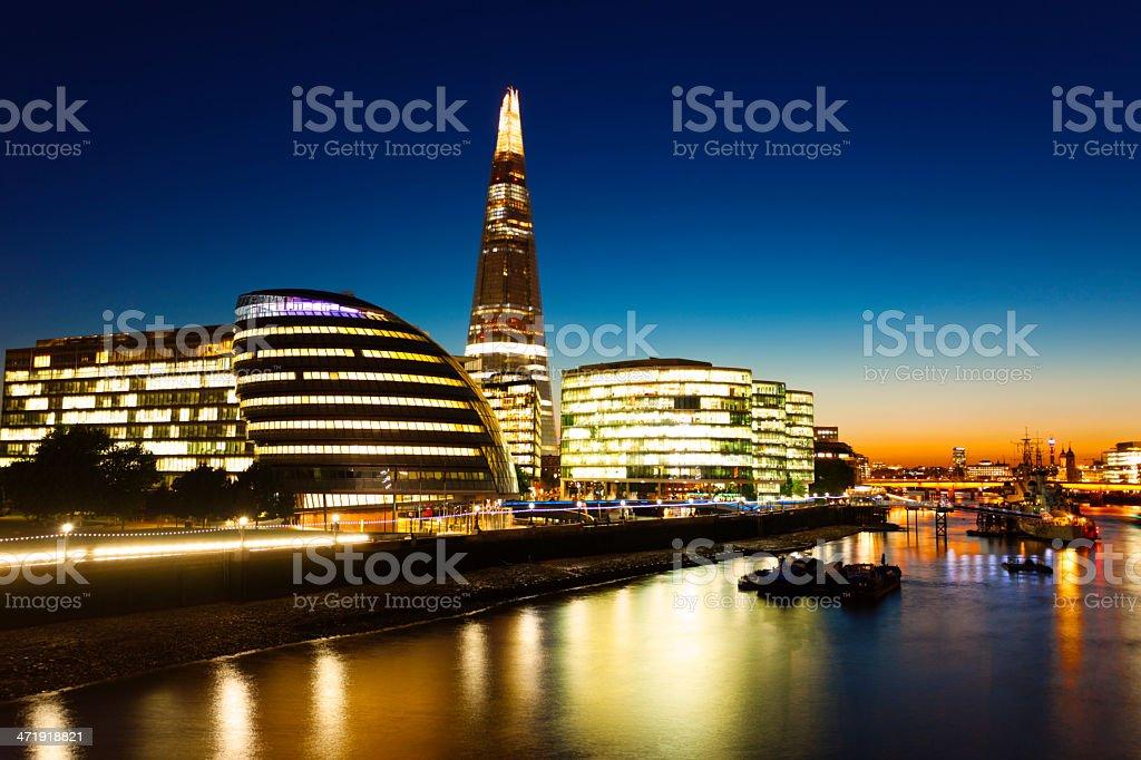 The Shard, City Hall, Thames River at Dusk, London, England royalty-free stock photo