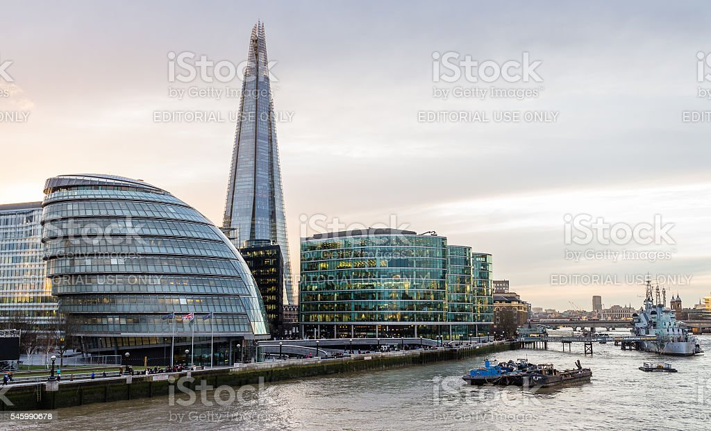 The Shard dominating the City Hall and the Thames riverisde stock photo