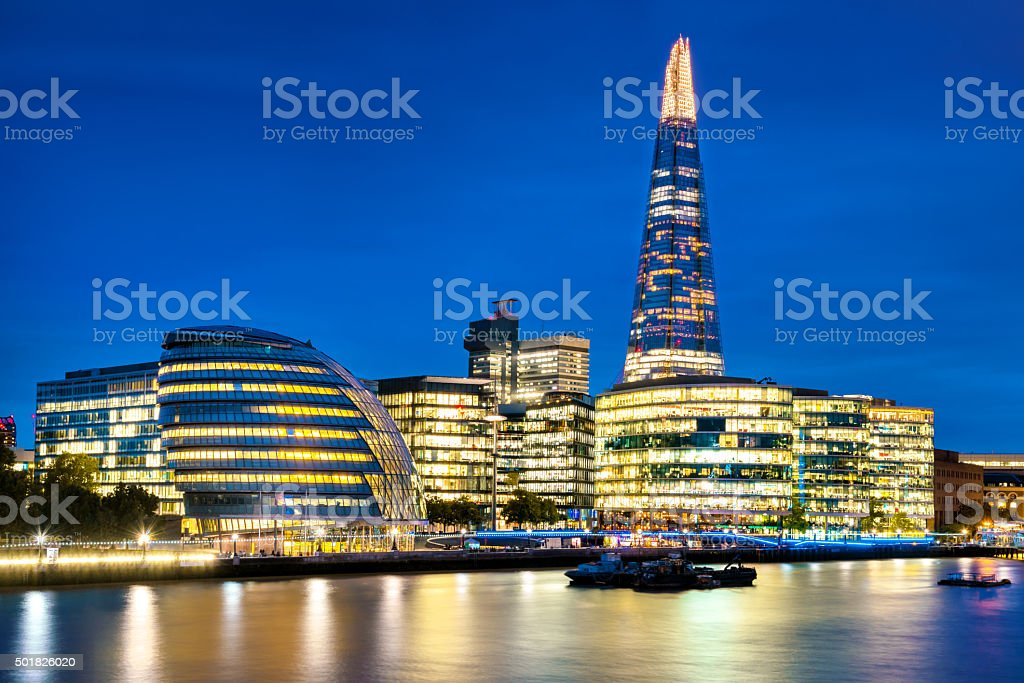 The Shard on London skyline at dusk stock photo