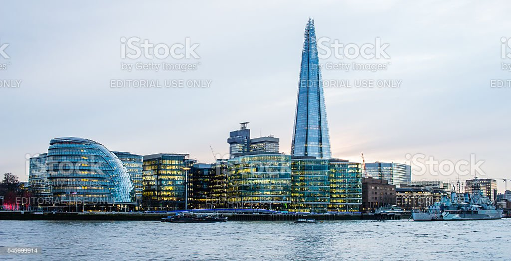 The Shard over City Hall and the Thames riverside buildings stock photo