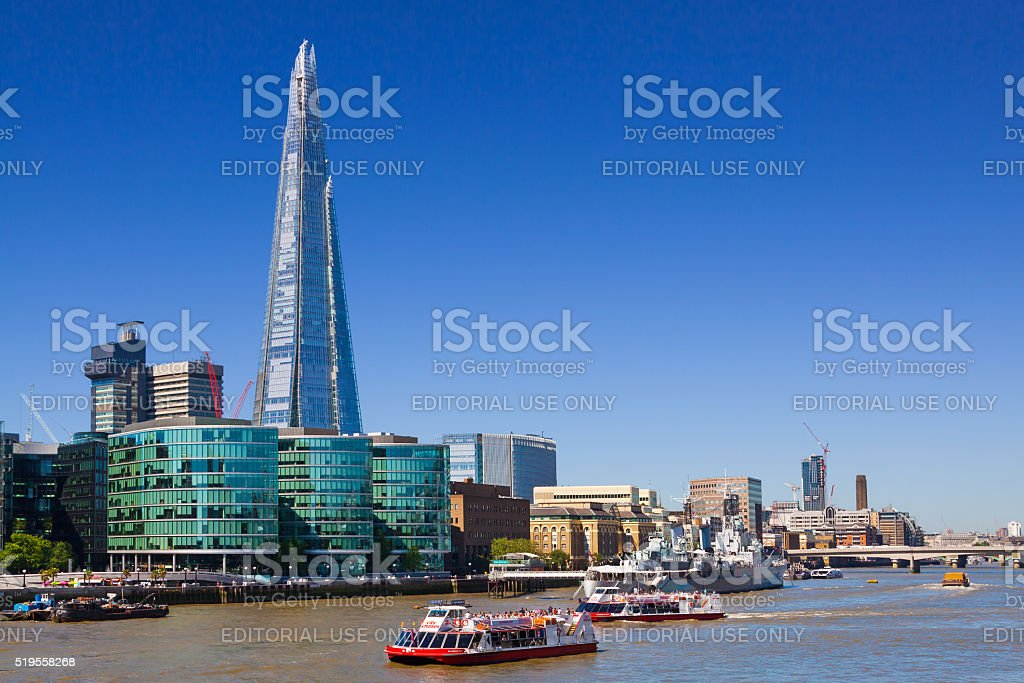 The Shard, River Thames, HMS Belfast, The Queen's Walk, London. stock photo