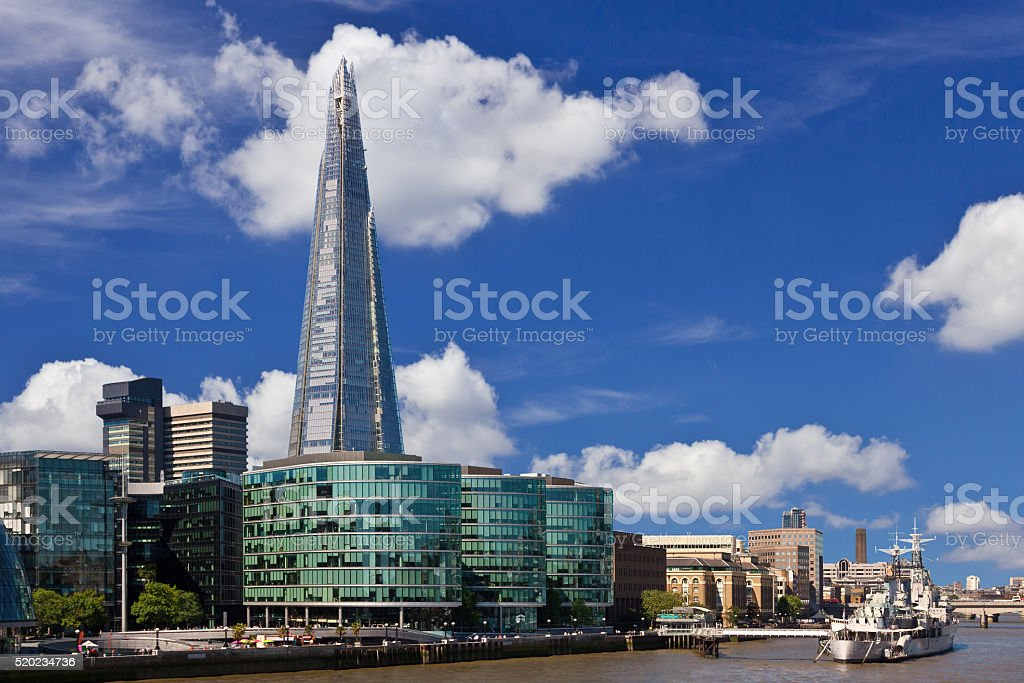 The Shard, River Thames, The Queen's Walk, HMS Belfast, London. stock photo