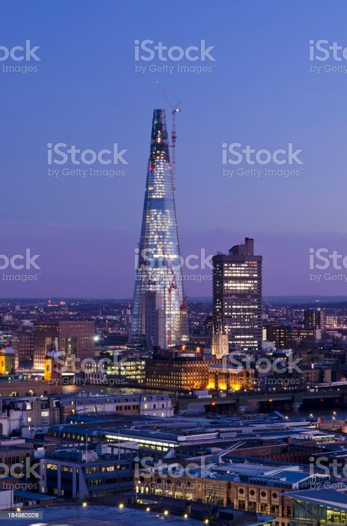 The Shard skyscraper at dusk, London royalty-free stock photo