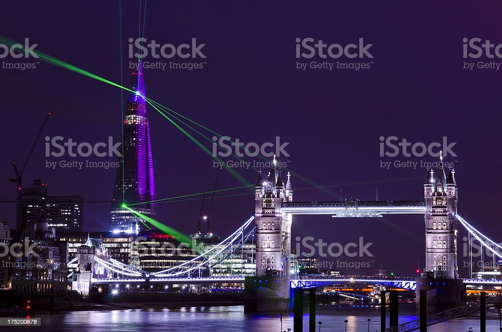 The Shard skyscraper laser show, London royalty-free stock photo