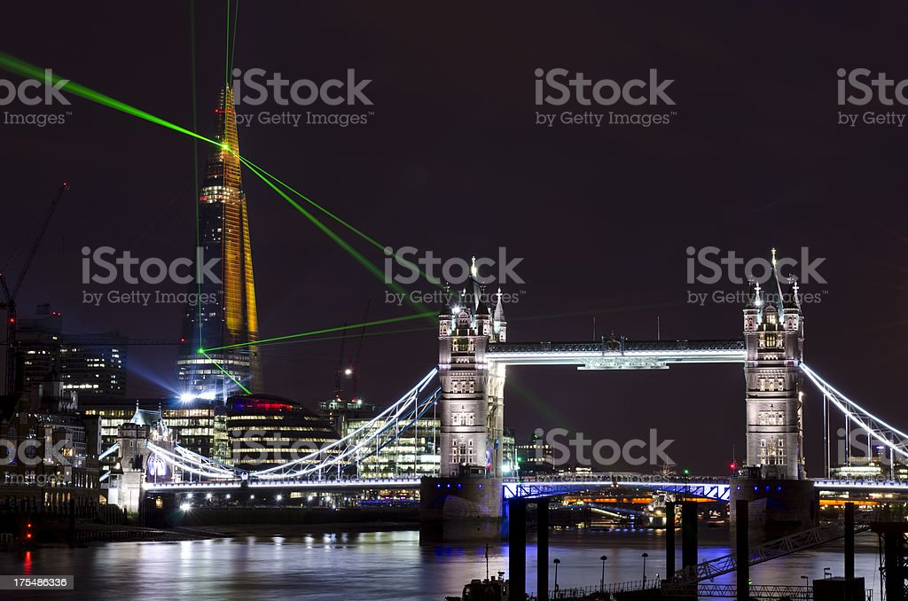 The Shard skyscraper opening laser show, London royalty-free stock photo