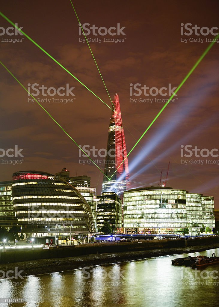 The Shard with Lasers royalty-free stock photo