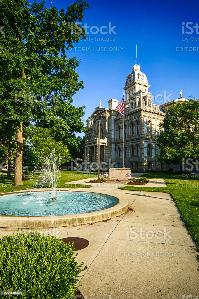 The Shelby County Courthouse and fountain in Sidney OH stock photo