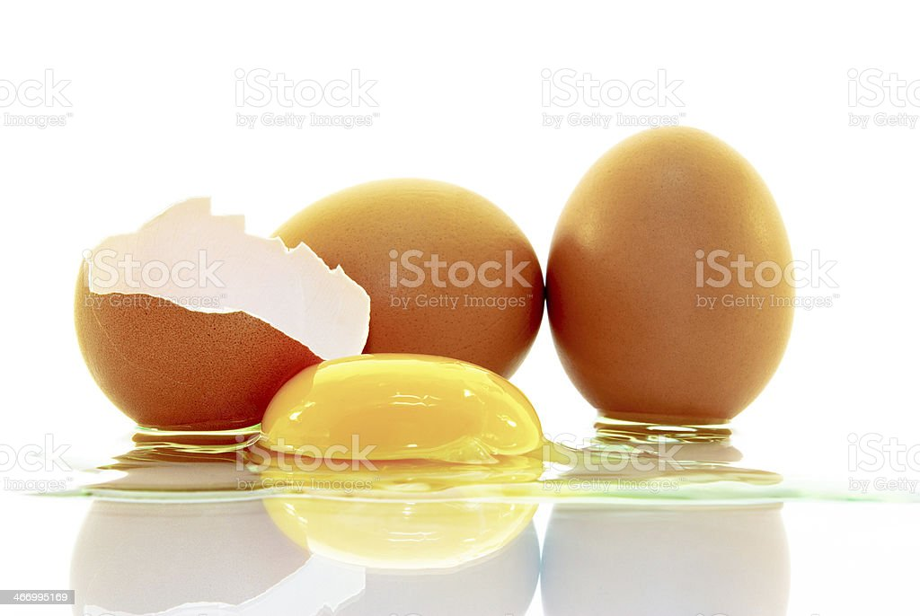 The shell of an egg ,yolk,isolated on white background. stock photo