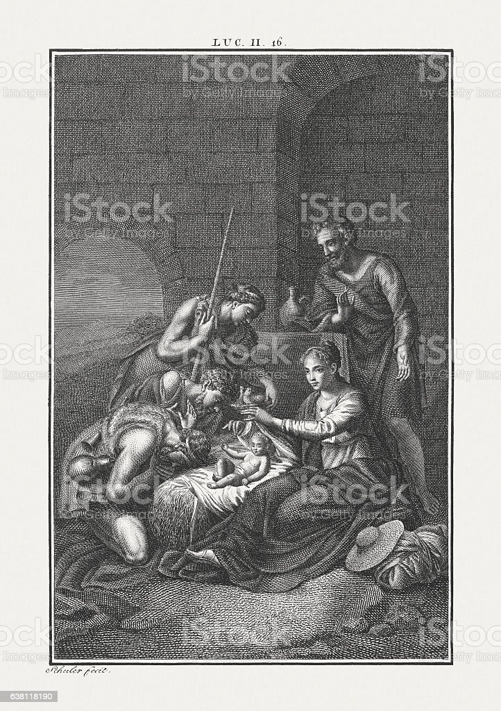 The Shepherds at the crib (Luke 2), published c. 1850 stock photo