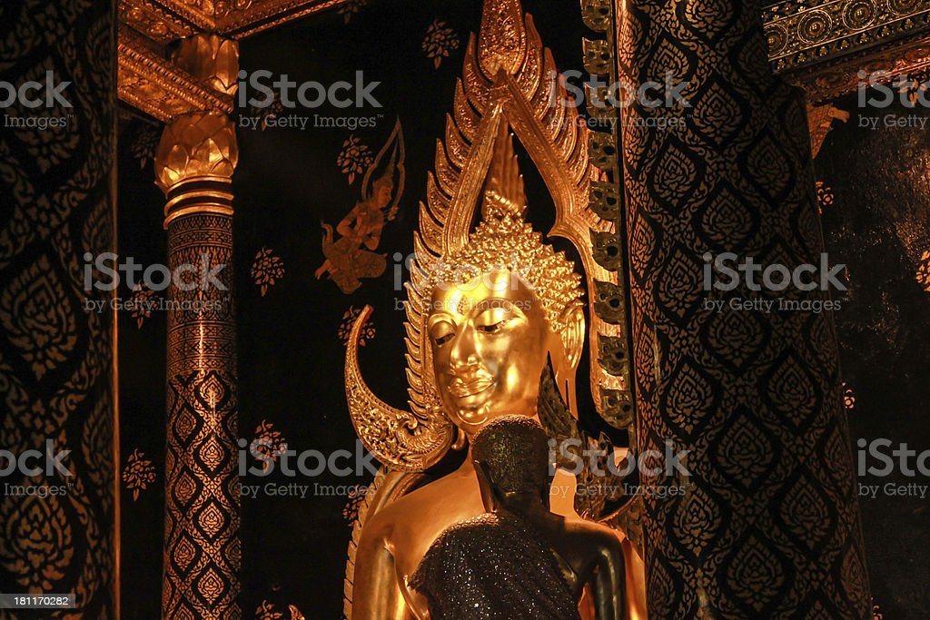 The Shinarath Golden buddha in Thailand royalty-free stock photo