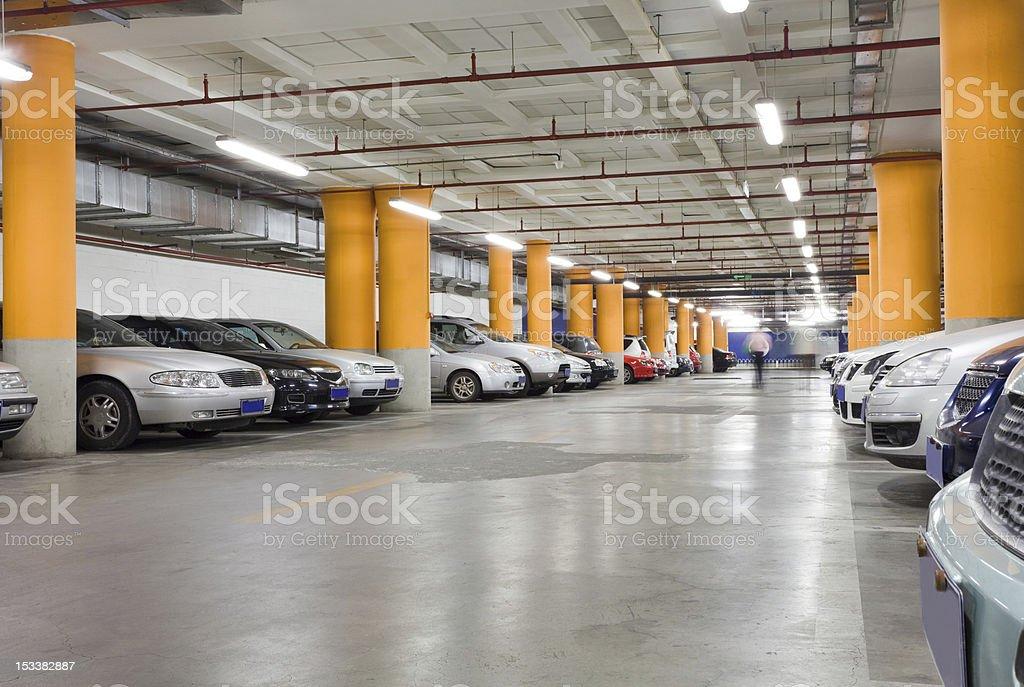 The shined underground garage stock photo