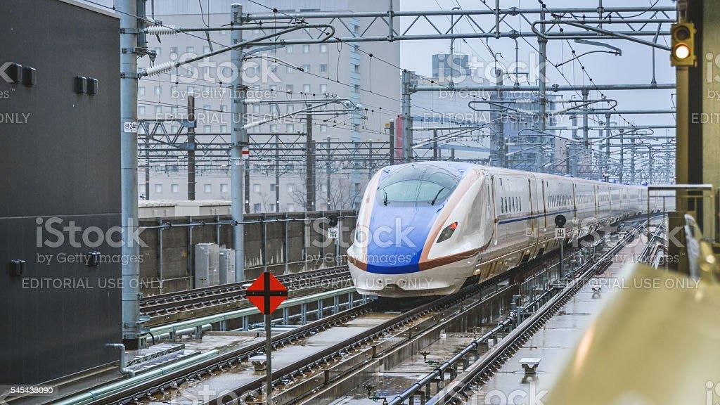 The Shinkansen bullet train network of high-speed railway stock photo