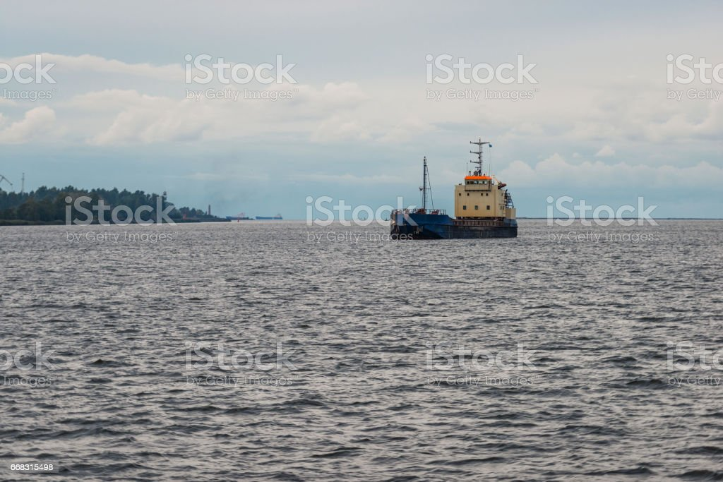 The ship arrives in port. stock photo