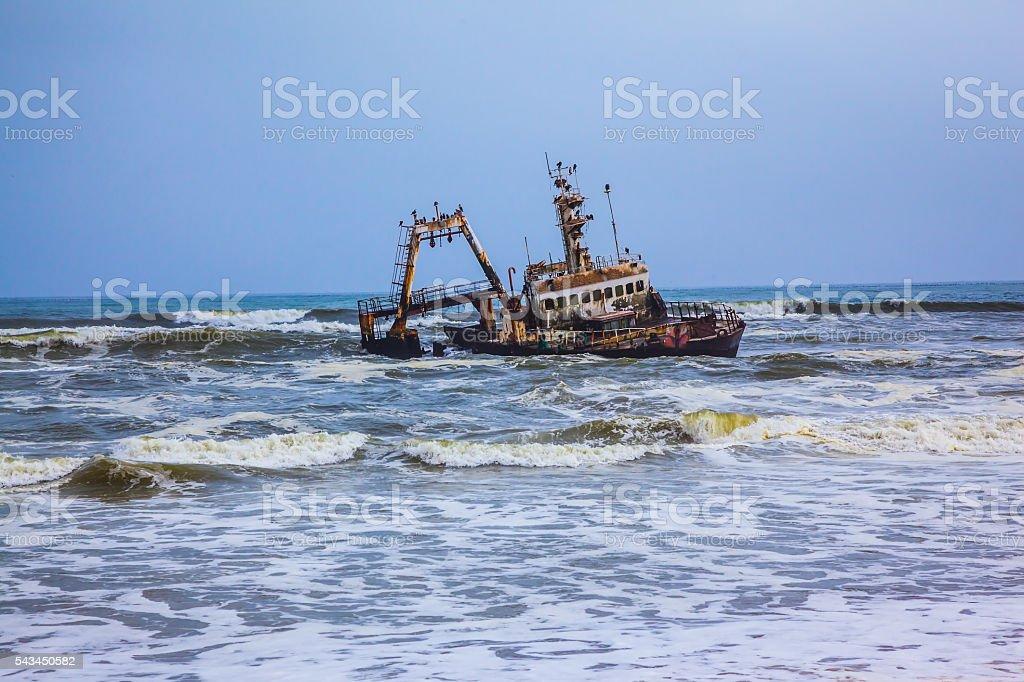 The ship crashed in 'Skeleton Coast' stock photo