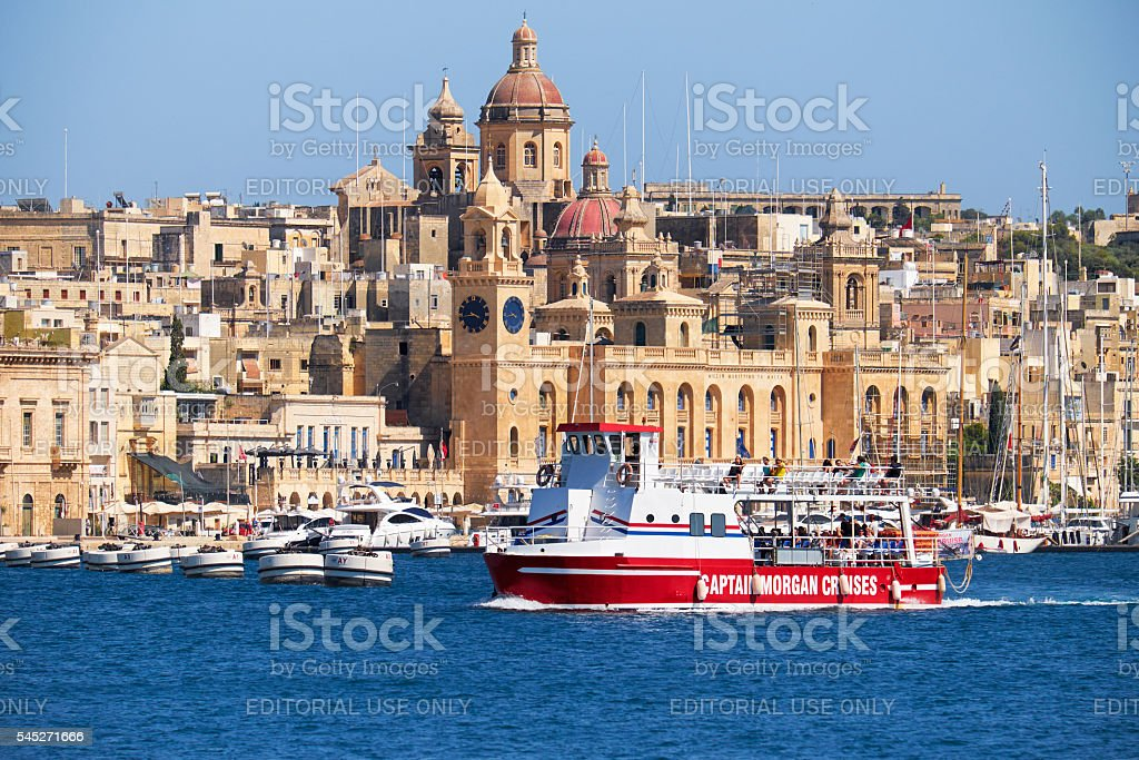 The ship of Captain Morgan Cruises  company passes stock photo