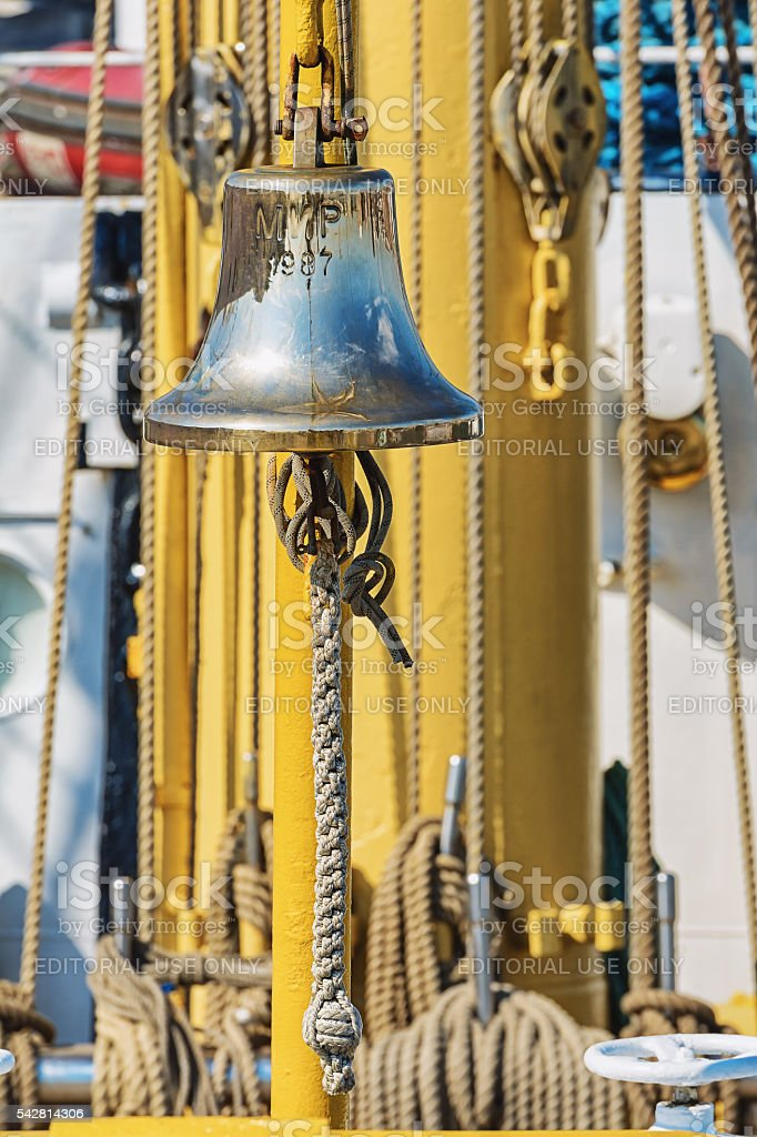 The ship's bell on the Russian ship 'The World'. stock photo