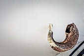 The Shofar and tallit for Jewish holiday Rosh Hashanah