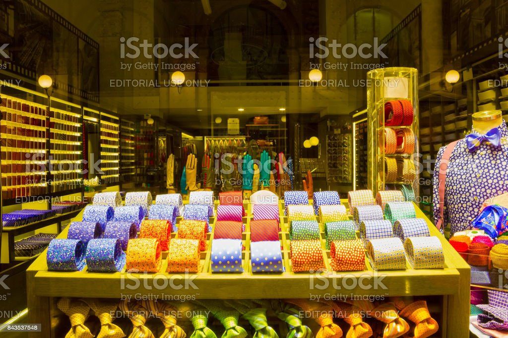 The shop with colorful italian ties stock photo