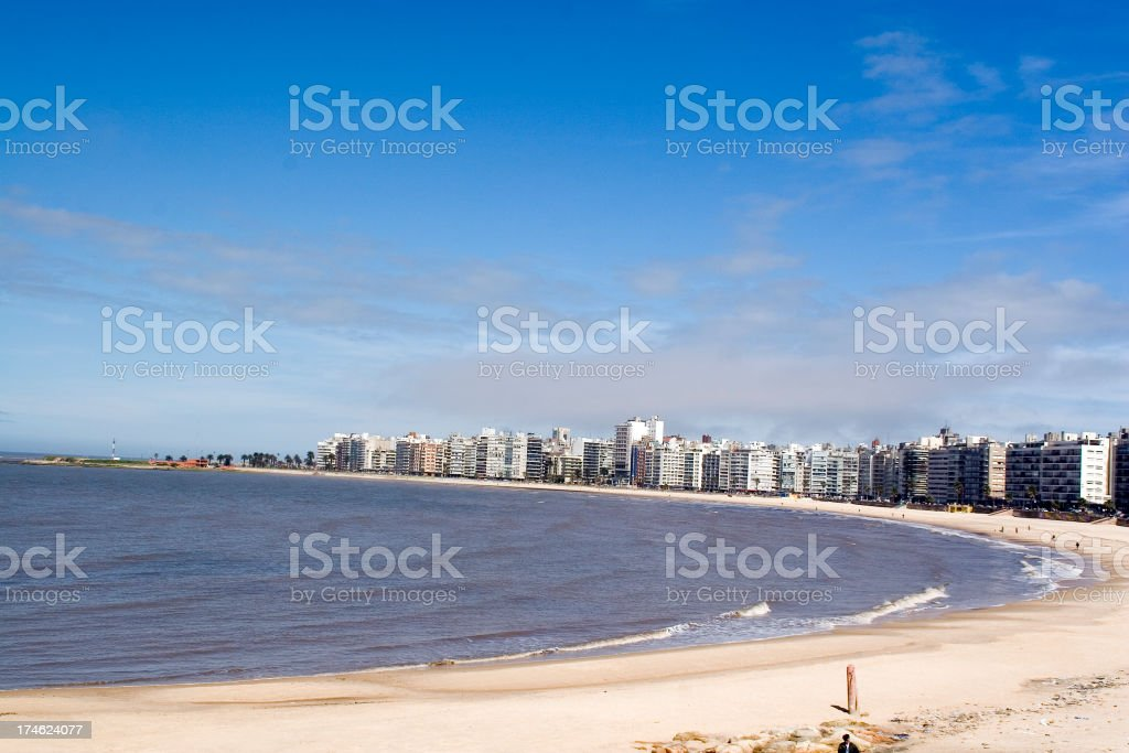 The shore and skyline of Montevideo royalty-free stock photo