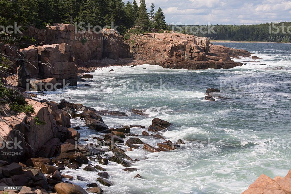 The shore of Acadia national park stock photo