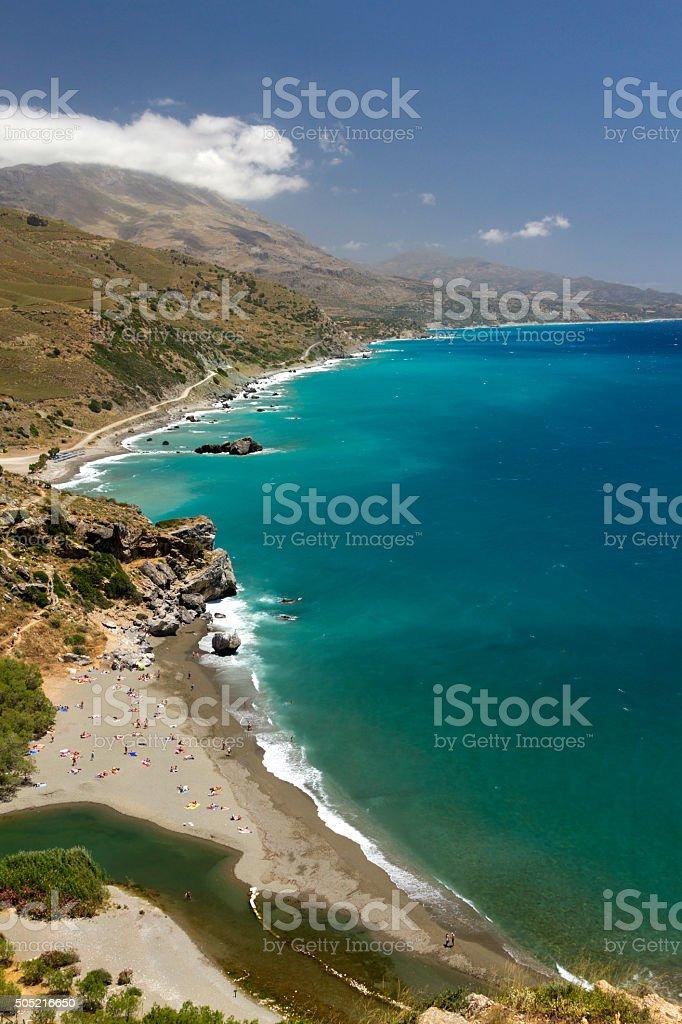 The shore of Preveli, Crete island, Greece stock photo