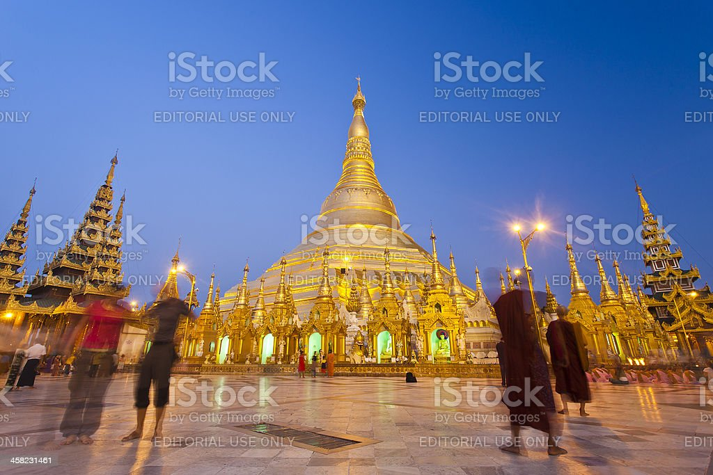 The Shwedagon Pagoda In Yangon, Myanmar royalty-free stock photo