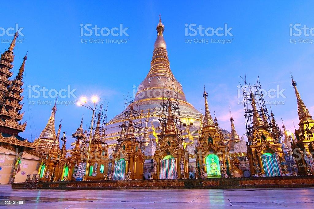 The Shwedagon Pagoda in Yangon, Myanmar stock photo