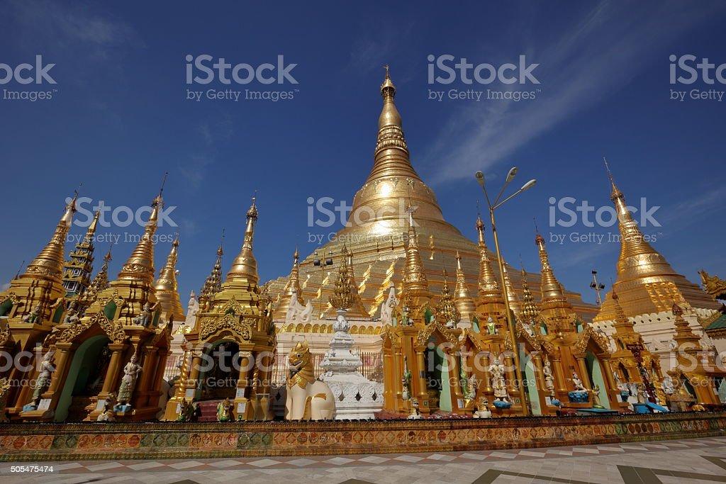 The Shwedagon Pagoda of Rangoon in Myanmar stock photo