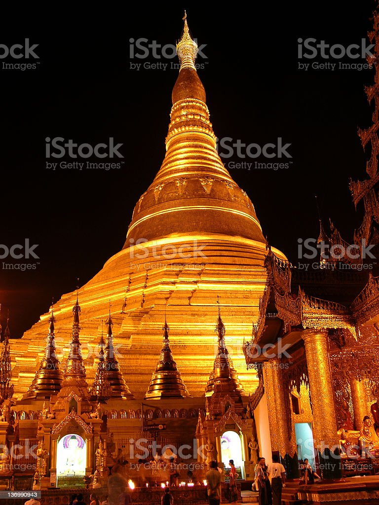 The Shwedagon Paya at night royalty-free stock photo