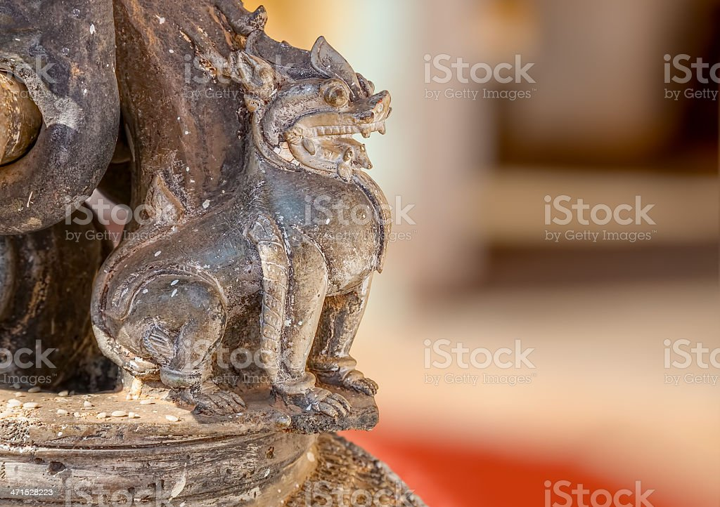 The Shwezigon Pagoda lion royalty-free stock photo