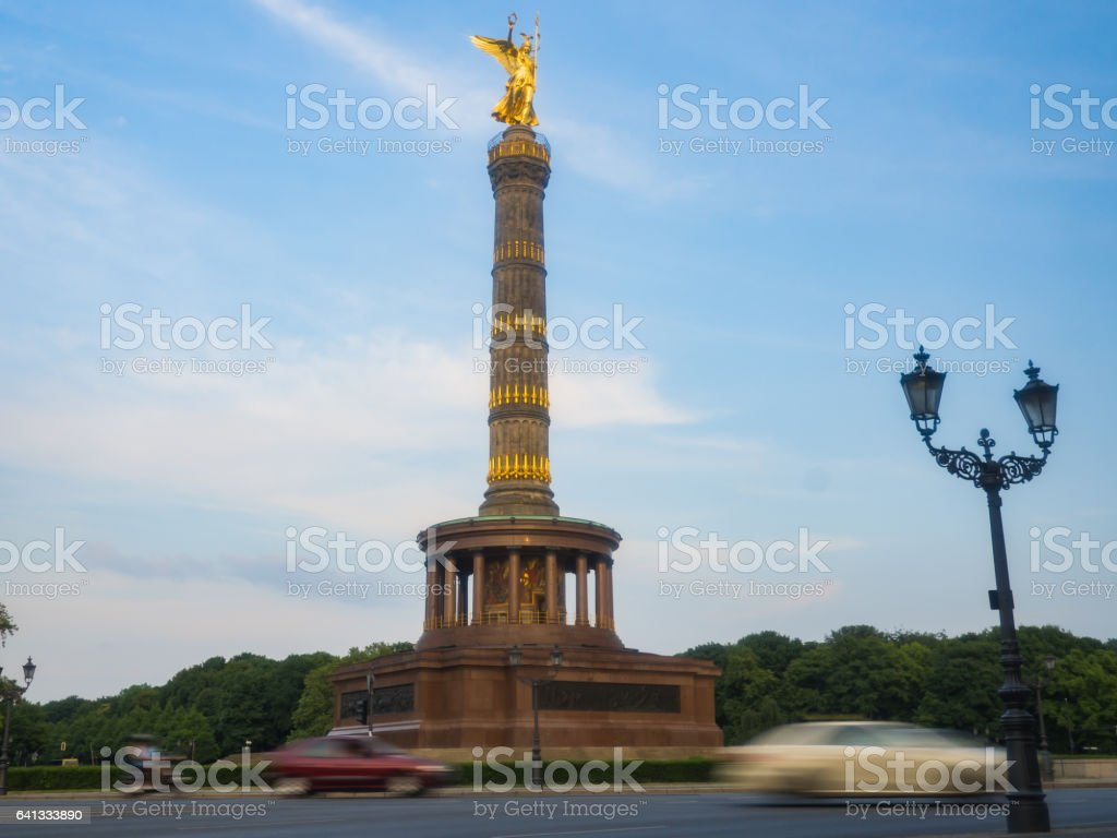 The Siegessaule is the Victory Column in Berlin stock photo