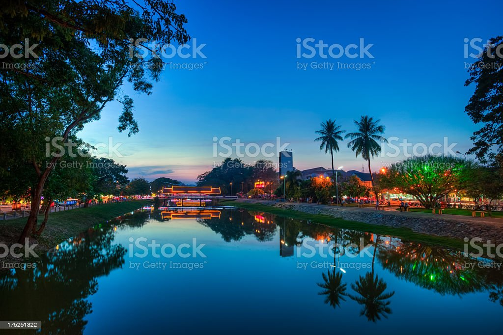 The Siem Reap River at night, Angkor, Cambodia stock photo