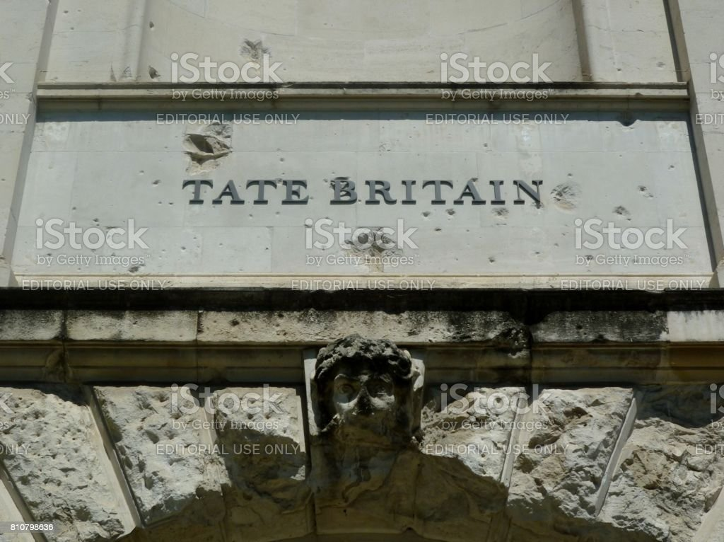 The sign above the Manton Entrance to Tate Britain, London, England stock photo