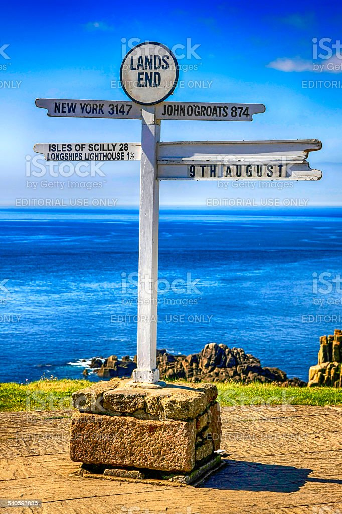 The sign at Lands End, UK stock photo