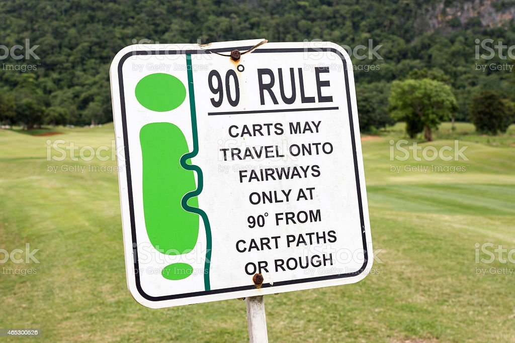The sign of golf rule in golf course Thailand stock photo
