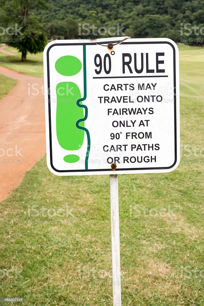 The sign of golf rule in golf course Thailand. stock photo