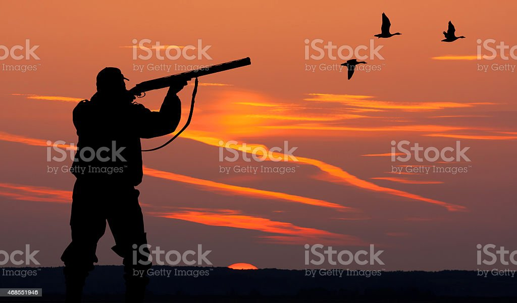 the silhouette of a hunter on sunset background stock photo
