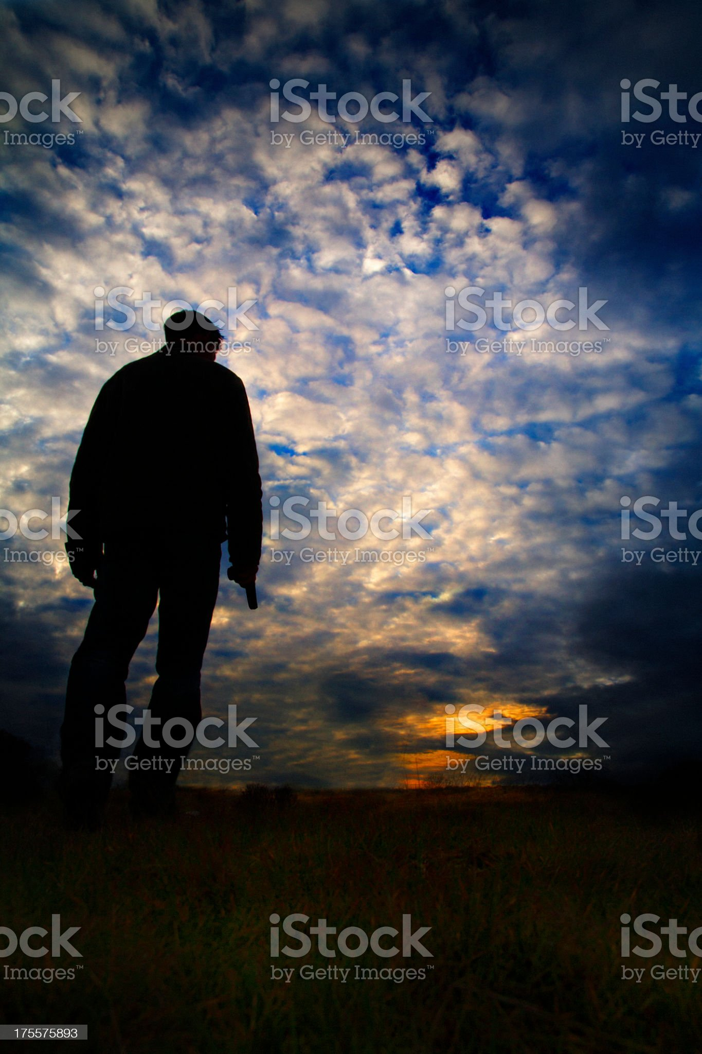 The silhouette of man holding gun royalty-free stock photo
