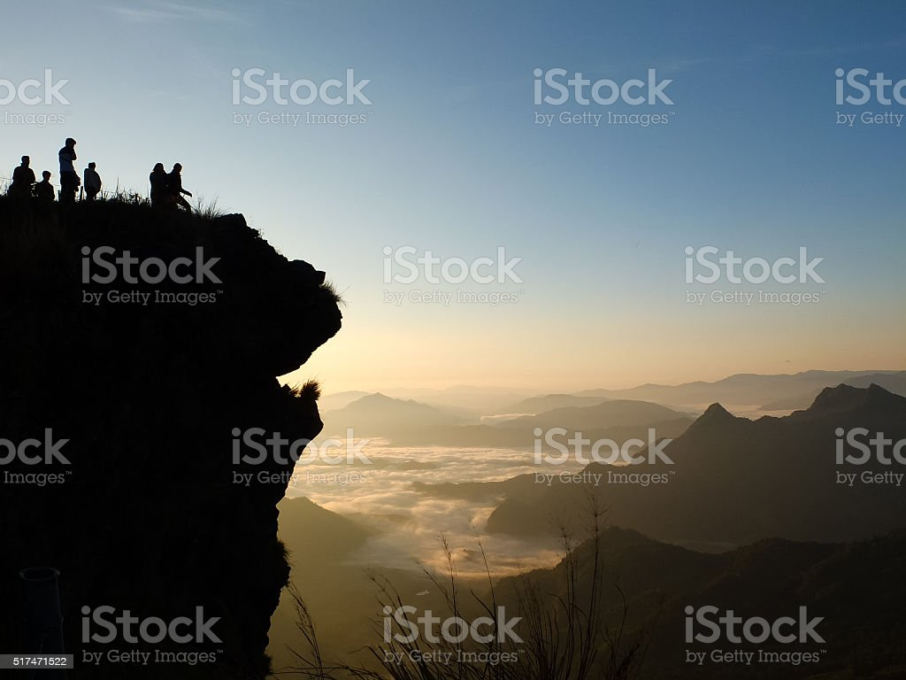 The silhouette of Phu Chi Fah,Thailand. stock photo