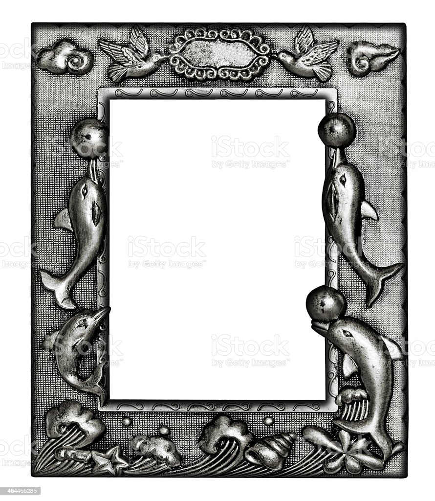 The silver antique picture frame isolated on white background royalty-free stock photo