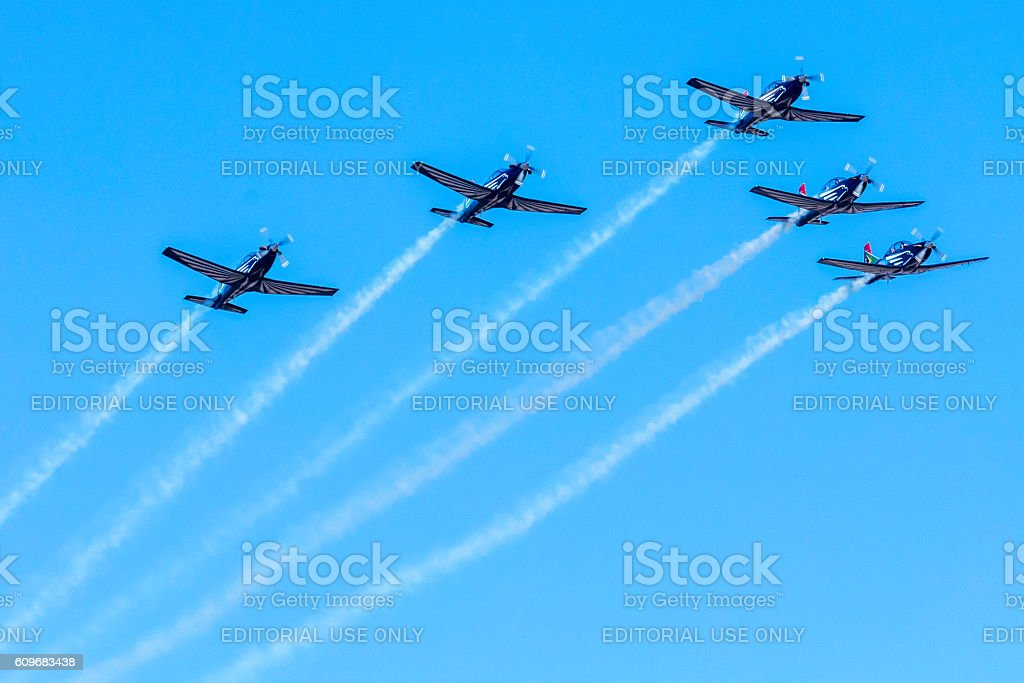 The Silver Falcons aerobatics in action stock photo