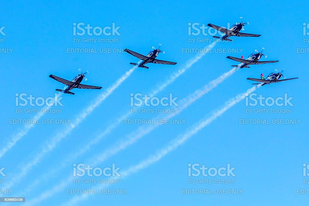 The Silver Falcons aerobatics in action stock photo