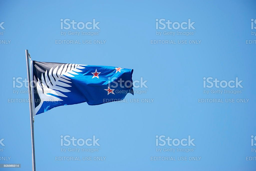 The Silver Fern Flag, New Zealand's new choice of Flag stock photo