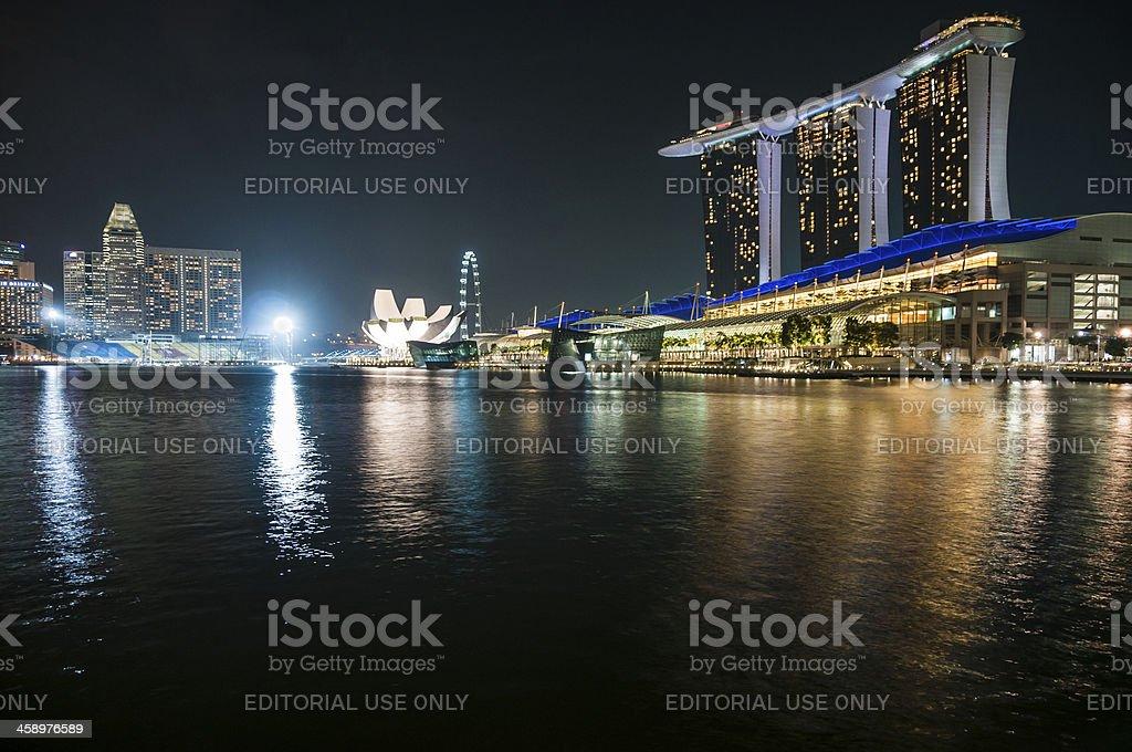 The Singapore Skyline At Night stock photo