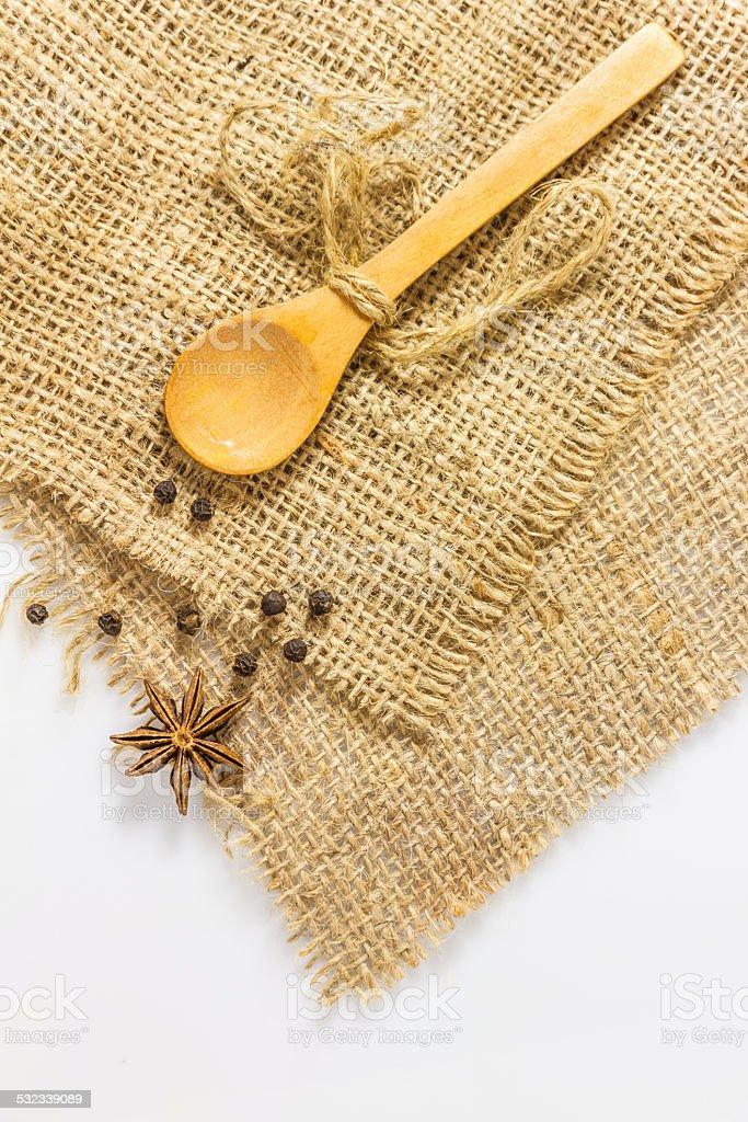 The single spoon on hemp. stock photo