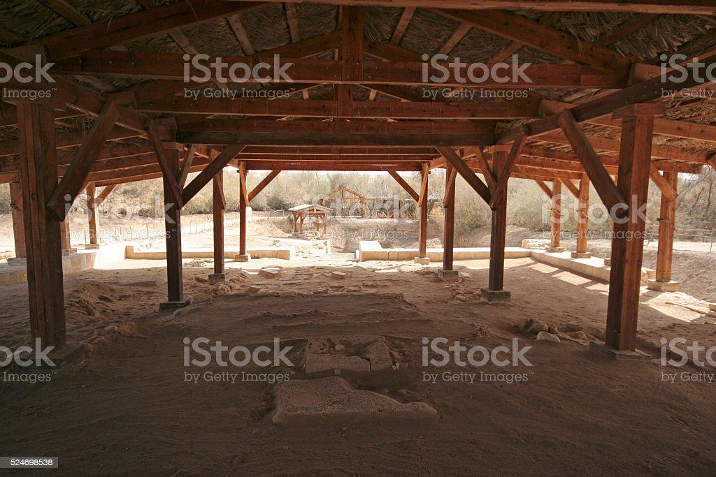The site where Jesus was baptized in river Jordan, Betania stock photo