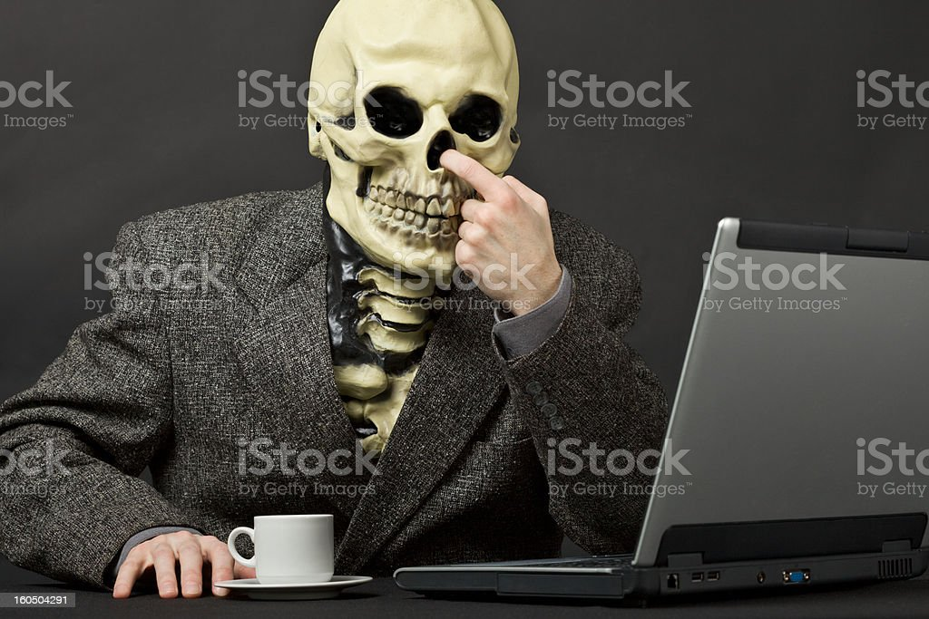 The skeleton picks in a nose royalty-free stock photo